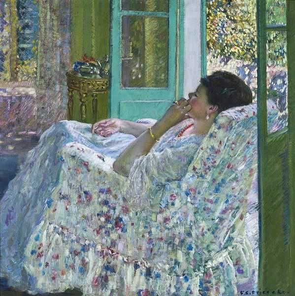 Afternoon - Yellow Room c. 1910 Painting By Frederick Carl Frieseke (American,1874–1939)