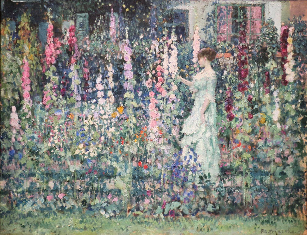 Hollyhocks c. 1912 By Frederick Carl Frieseke